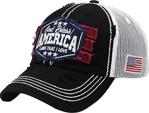 6f849c3c0e3 KBVT-1066 BLK America USA Vintage Distressed Dad Hat Baseball Cap Adjustable