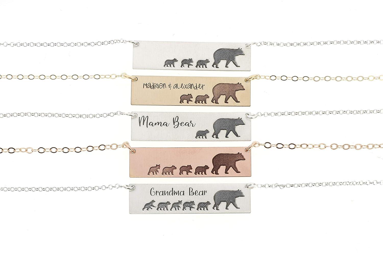 necklace silver mama bear bar necklace Gold mama bear necklace Minimalist necklace Mama bear necklace