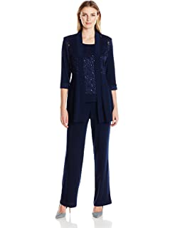 f1bef63f91a6d Alex Evenings Women s Two-Piece Pant Suit with Embroidered Tunic Top ...