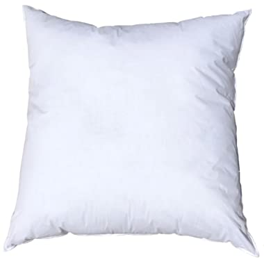 Pillowflex 26x26 Inch Premium Polyester Filled Pillow Form Insert - Machine Washable - European Square - Made In USA