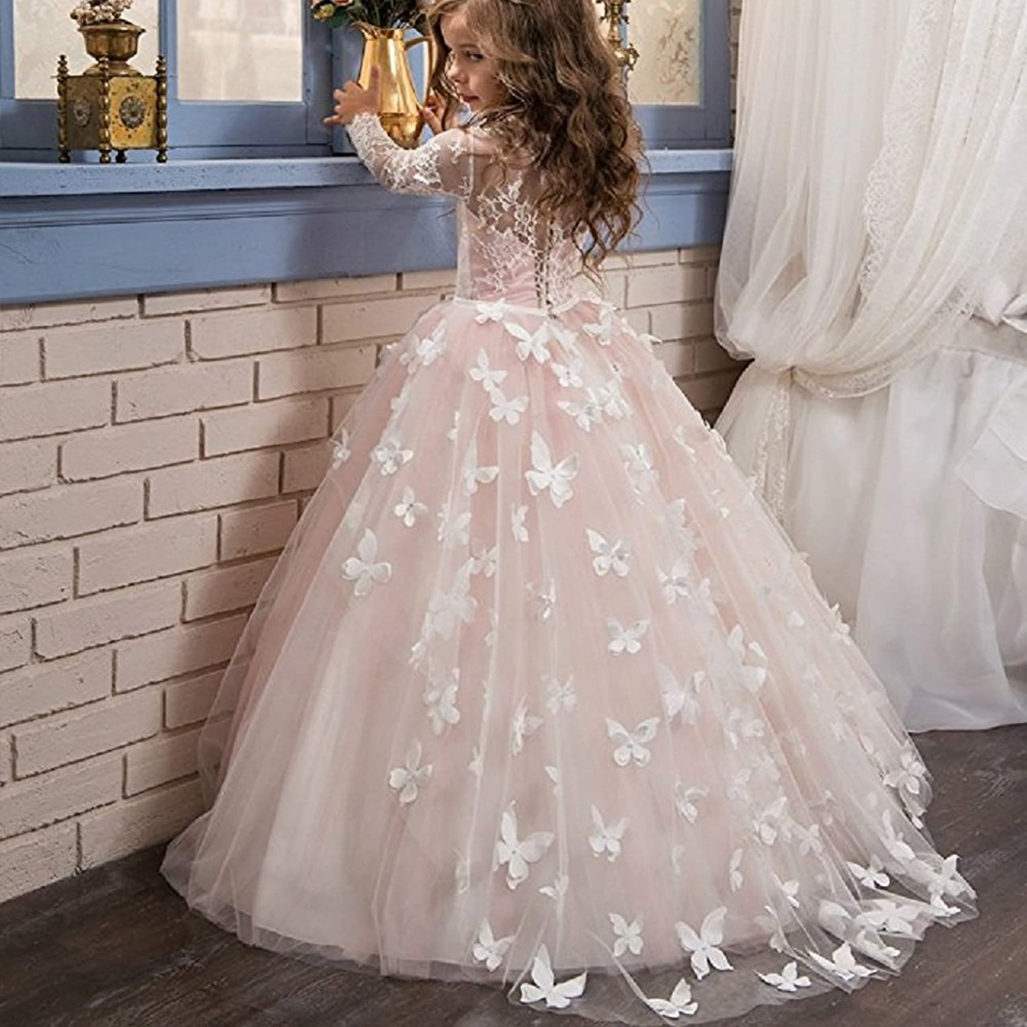 Amazon.com: GU ZI YANG Girls Pageant Dresses 7-16 Floor Length Ball Gowns Puffy Prom Dress Long sleeves: Clothing