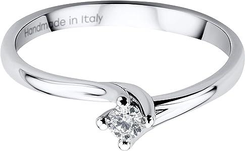 anillo oro blanco con diamante fino