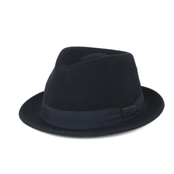 Cappello Trilby Elegante 100% Lana Blu Navi Impermeabile e Pieghevole b4963980f4ee