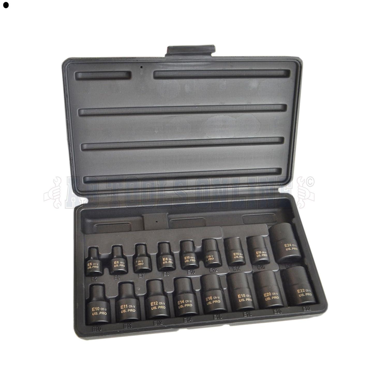 """US PRO Tools 17pc 3//8/"""" /& 1//2/""""Dr Impact E-Torx Sockets Set E5-E24 NEW 1357 BERGEN"""