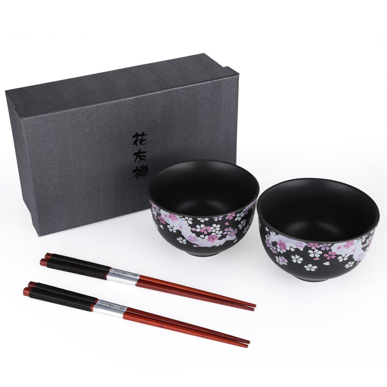 Seb's Kitchen Japanese Handcrafted Cherry Blossom 2pc rice Bowl Set with Chopsticks Le Comte & Hsu Ceramics SYNCHKG120170