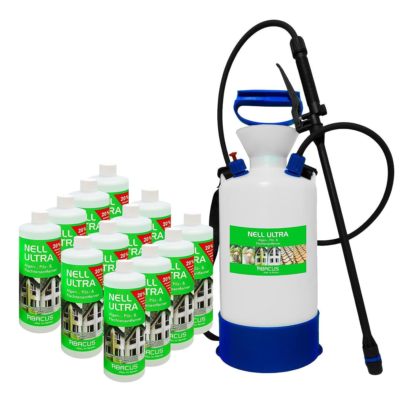 ABACUS Nell Ultra (12x 1000 ml + 6 Ltr Drucksprüher VITON - säurebeständig) Konzentrat - Algenentferner Pilzentferner Flechtenentferner Grünbelagsentferner Algizid Algen-Ex Algenvernichter