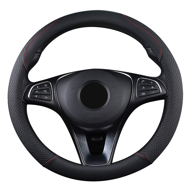 15 Anti-slip Breathable Durable Brown SFONIA Car Steering Wheel Cover Steering Wheel Protector PU Leather Universal 38cm
