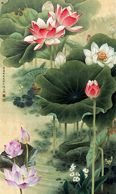 Tallenge Chinese Gongbi Painting Nine Lotus Lotus Flower