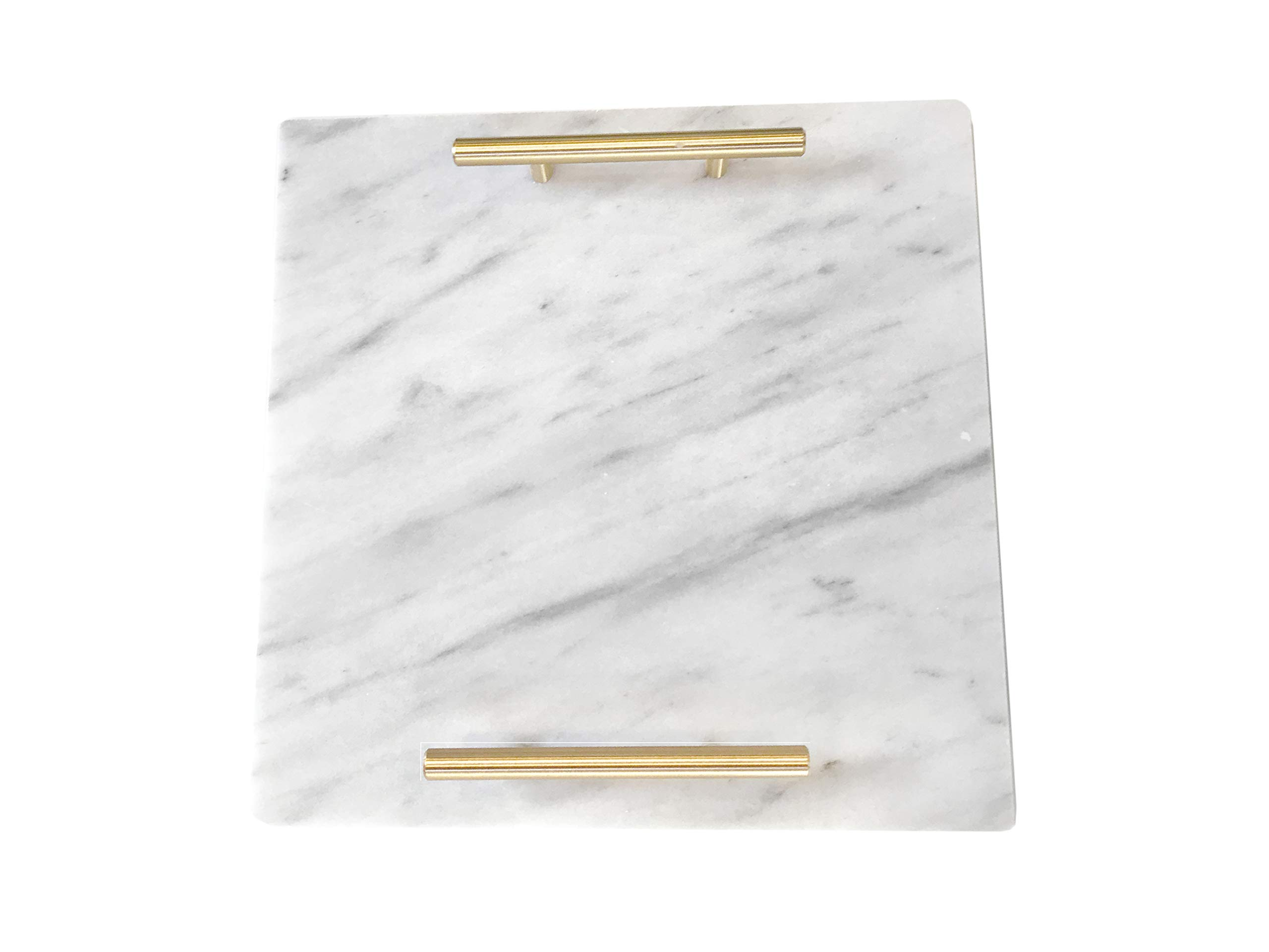 Cararra Blanco White Marble Slab Cheese Board with Gold Brushed Metal Handles