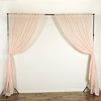 BalsaCircle 10 feet x 10 feet Blush Sheer Voile Backdrop Drapes Curtains 2  Panels 5x10 ft - Wedding Ceremony Party Home Decorations