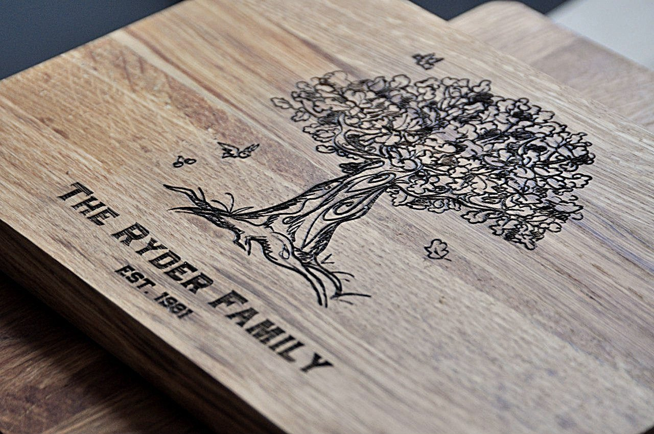 Oak Family Personalized Engraved Cutting Board custom Wedding Gift Tree Anniversary Gifts, Housewarming Gift,Birthday Gift monogram custom09