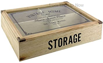 Vintage Home 4 Compartimiento de madera cubiertos caja de almacenamiento tapa de cristal: Amazon.es: Hogar