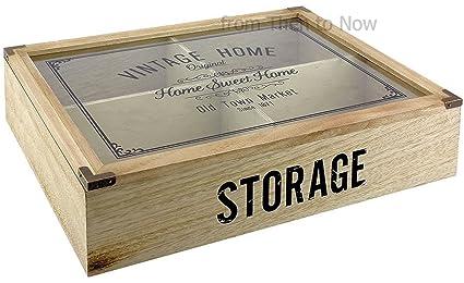 Vintage Home 4 Compartimiento de madera cubiertos caja de almacenamiento tapa de cristal