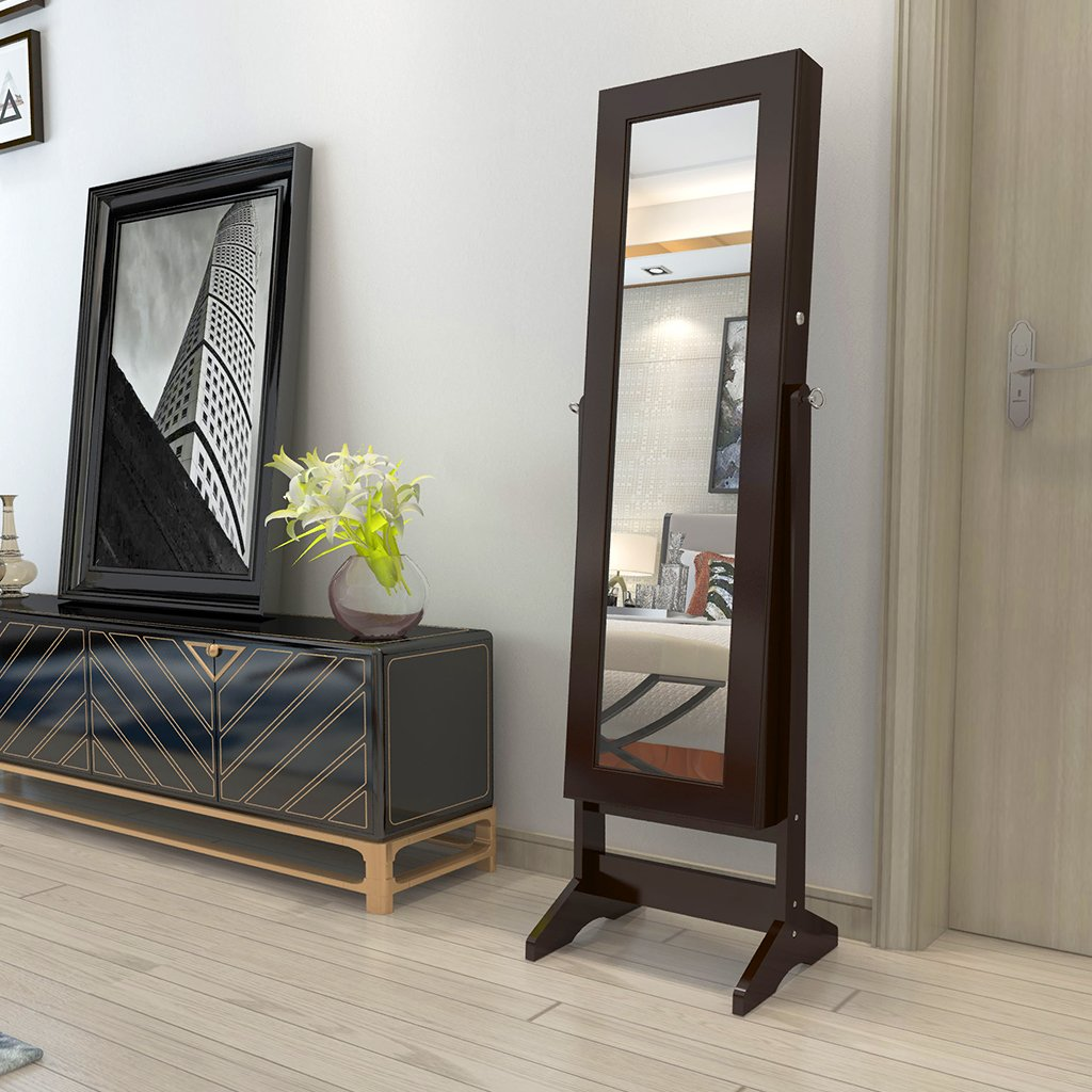 LANGRIA Lockable Jewelry Cabinet Jewelry Armoire with Mirror Jewelry Holder Organizer Storage, 4 Angle Adjustable, Brown by LANGRIA (Image #3)