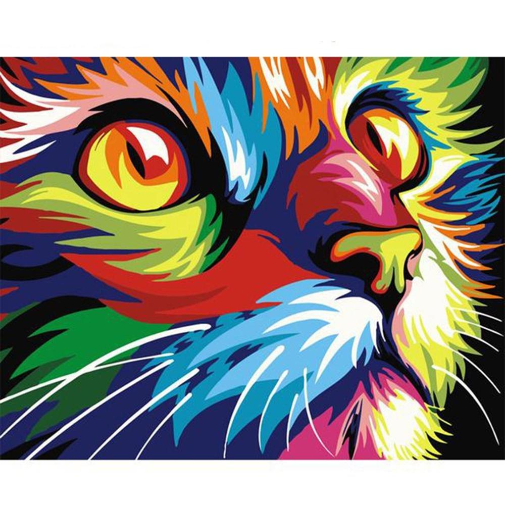 Hstone Pintura de al óleo digital de Pintura Diy por la decoración de la pared de los números en la pintura al óleo de la lona que colorea por los animales del dibujo del número , Frameless 32093a