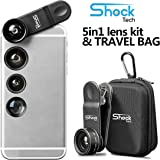 Shock Tech 5 in 1 Clip On Cell Phone HD Camera Lens Kit for iPhone 7 6/6S 6S Plus, Samsung Galaxy S7/S7 Edge S6/S6 Edge, Most Smartphones and Tablets | Telephoto, Fish Eye, Wide Angle, CPL, Macro