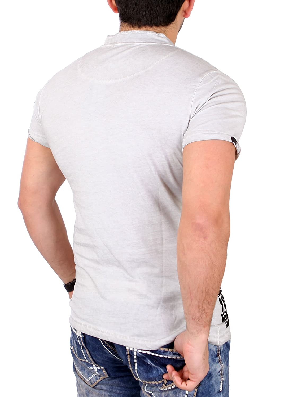 ea07d2cc7abca Tazzio T-Shirt Herren Vintage Style Flockprint Kurzarm Shirt TZ ...