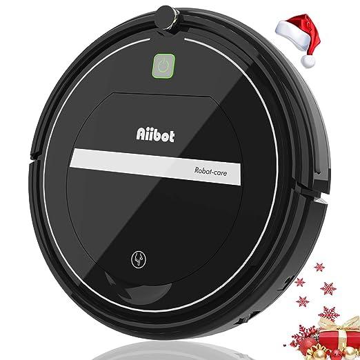 Aiibot Robot Aspirador,Succión Fuerte Aspirador Robot,Diseño Ultrafino,Anti-caída,HEPA,Pelos Animales, Adecuado para Suelos Duros y Alfombras de Pelo ...