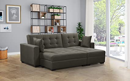 Amazon.com: BroyerK 3 pc Reversible Sleeper Sectional Sofa Bed ...