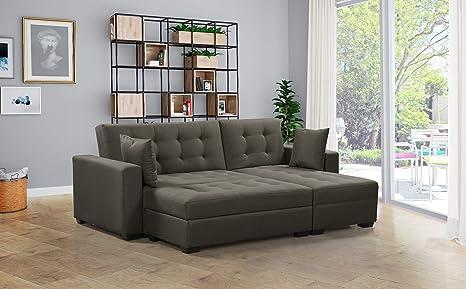 huge discount 8b56c cdbc3 BroyerK 3 pc Reversible Sleeper Sectional Sofa Bed (Taupe)