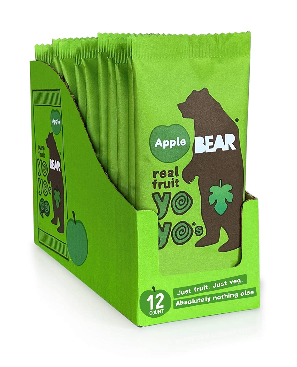 BEAR - Real Fruit Yoyos - Apple - 0.7 Ounce (12 Count) - No added Sugar, All Natural, non GMO, Gluten Free, Vegan - Healthy on-the-go snack for kids & adults