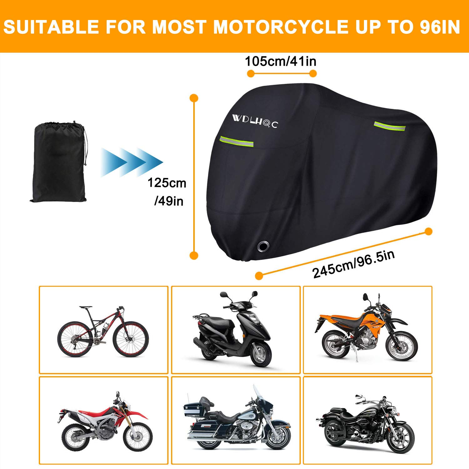 Motorcycle Cover,WDLHQC Waterproof Motorcycle Cover All Weather Outdoor Protection,Oxford Durable /& Tear Proof,Precision Fit for 96inch Motors