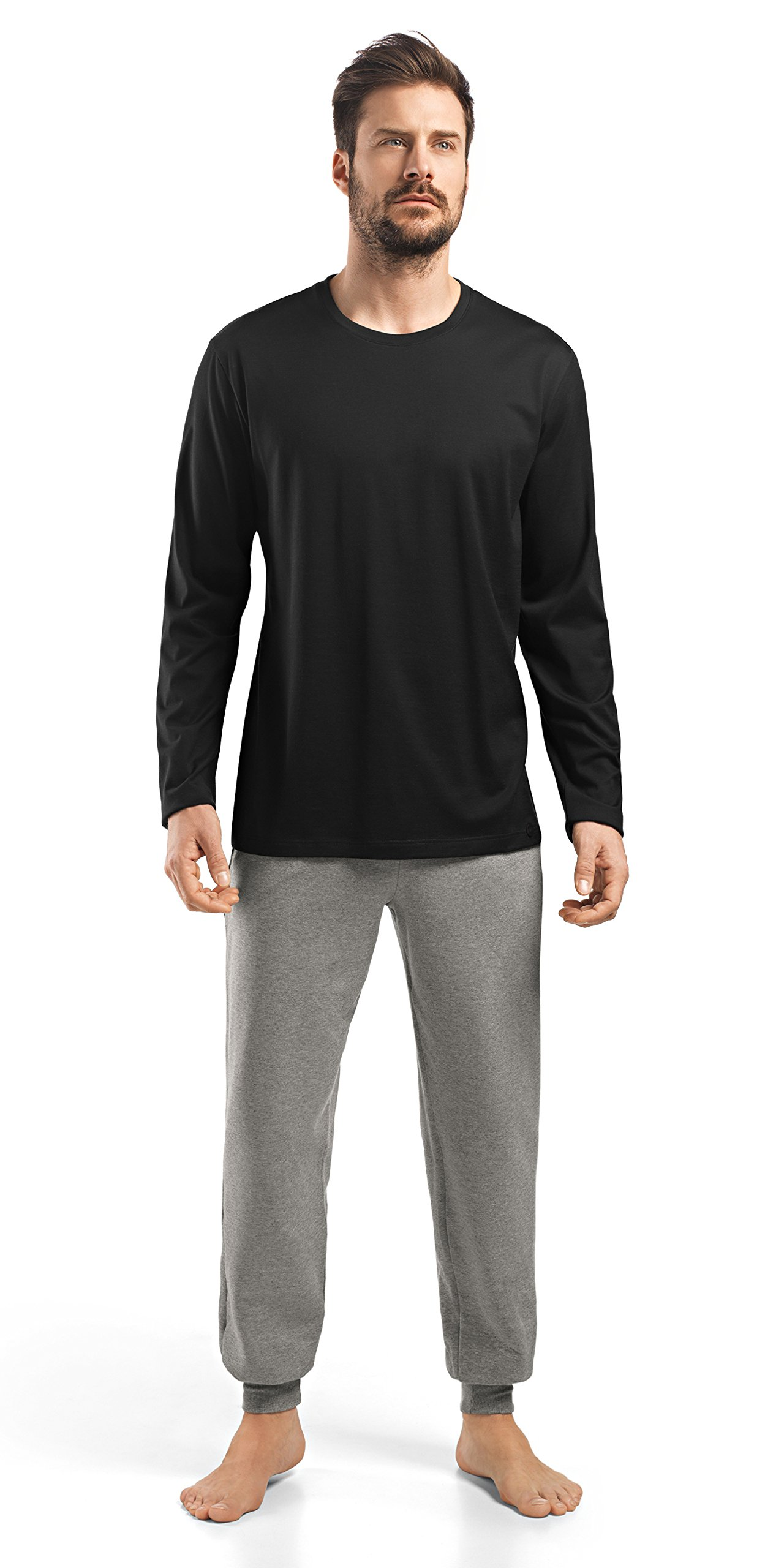 HANRO Men's Night and Day Long Sleeve Shirt, Black, Medium
