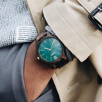 Wooden Wrist Watches for Men or Women - Frankie Minimalist Series / Wood Watch Band / Wood Bezel / Analog Quartz Movement - Includes Wood Watch Box (Dark Sandalwood & Emerald)