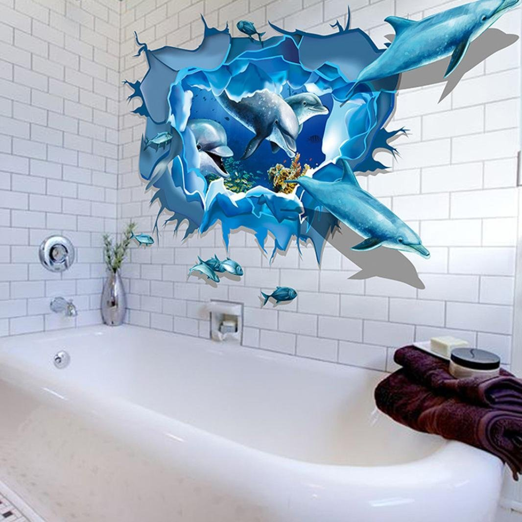 Amazon Hatop Kid Room Sea Whale Fish 3d Wall Stickers For Kids