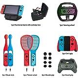 DeHasion 19 in 1 Switch Accessories Bundle 2X Drum Sticks/2x Tennis Bracket/8xThumb Grip/2x Hand Grip/1x2 in 1 Grip/1xSteering Wheel/1x Functional Stand1x Switch Game Card Case for Nintendo Switch