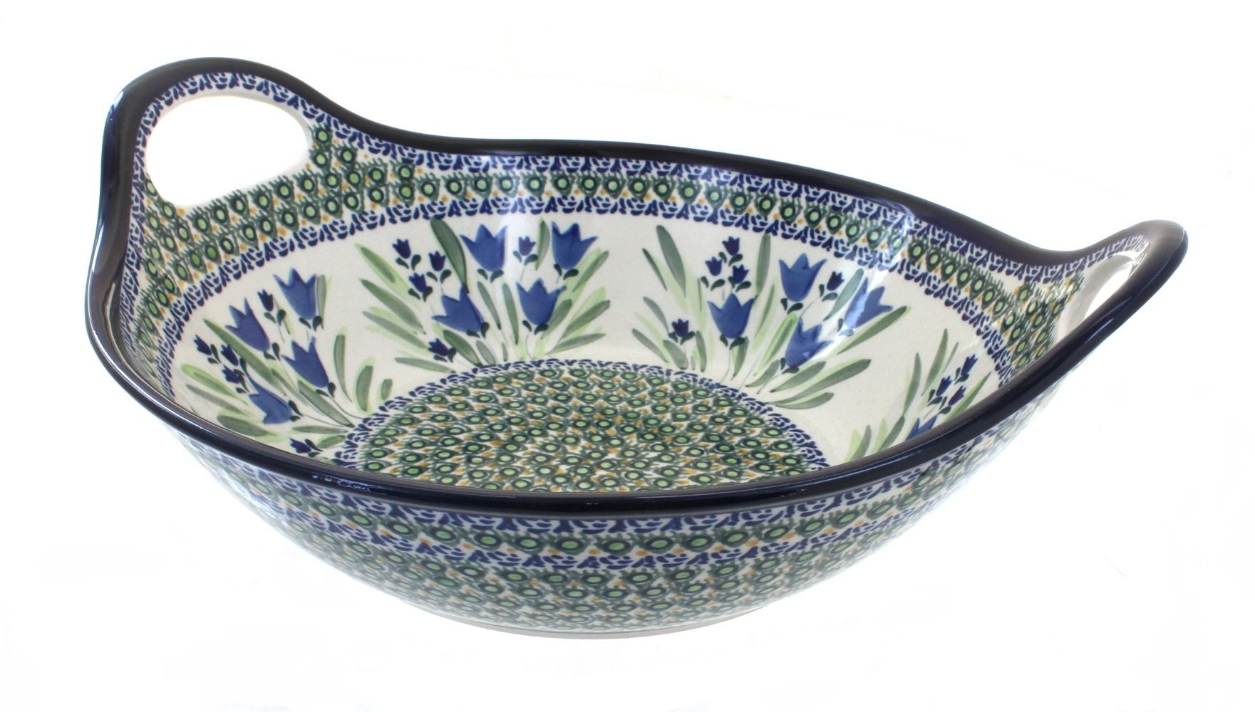 Polish Pottery Blue Tulip Deep Bowl with Handles