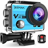JEEMAK 4K Sports Action Camera 16MP WiFi Waterproof Camera with 2.4G Remote Control 170° Wide Angle 2.0'' LCD Screen 2 Rechargeable Batteries(Blue)