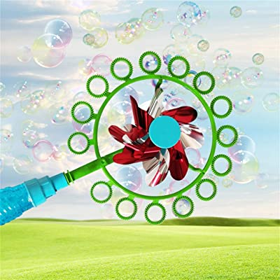 Bubble Wands Kit 2-in-1 Magic Bubble Stick Windmill Portable Bubble Stick Children Outdoor Bubble Toy (Red) : Baby