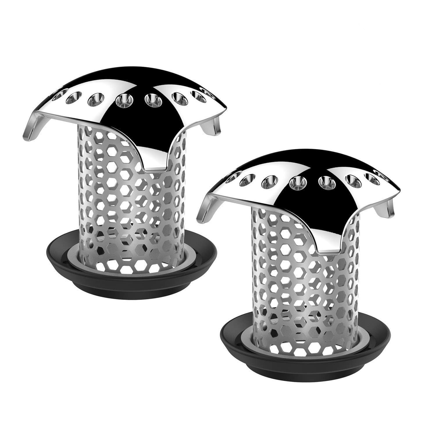 Uxoz 2 Pack Drain Hair Catcher,Stainless Steel Bathtub Drain Protector, Anti-Rust/Long Service Life, Durable Use, Match Drain Sizes from 1.35'' to 1.75'' (2) ...