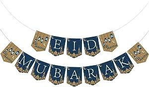 Eid Mubarak Banner - Eid Mubarak Decoration - Ramadan Party Decorations Supplies - Eid Mubarak Banner Bunting - No Assembled Required
