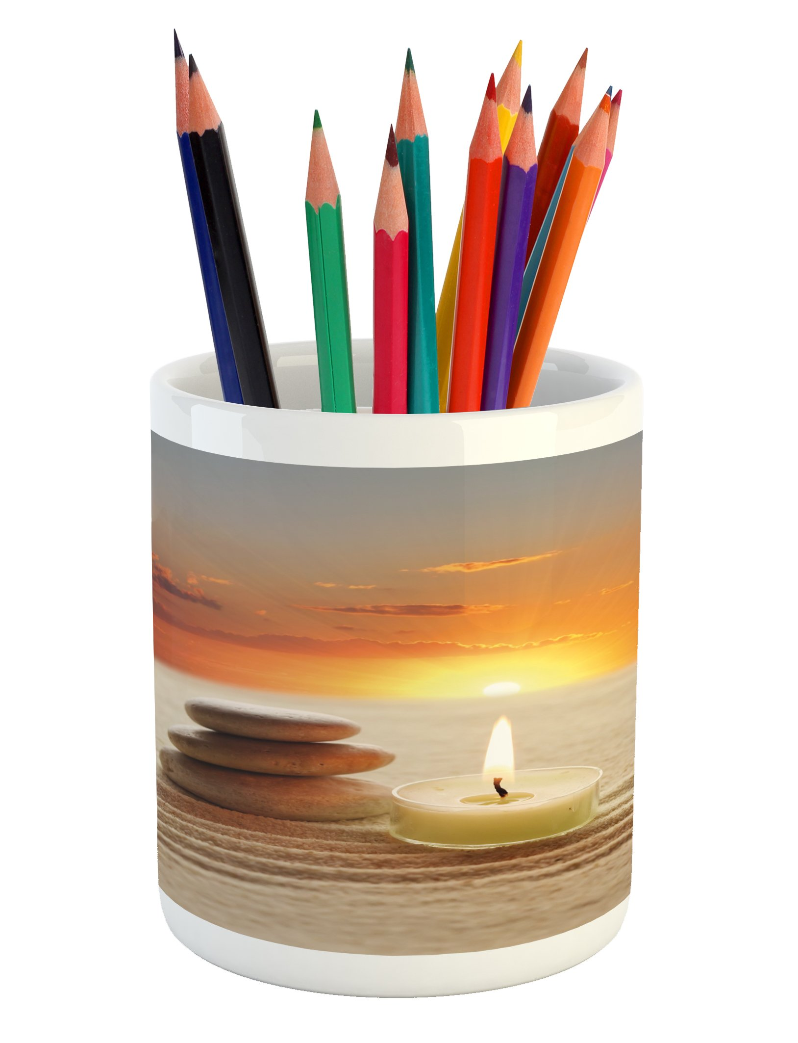 Lunarable Spa Pencil Pen Holder, Little Candle with Three Stones Middle of Sand with Sunset Serene Landscape, Printed Ceramic Pencil Pen Holder for Desk Office Accessory, White Brown and Orange