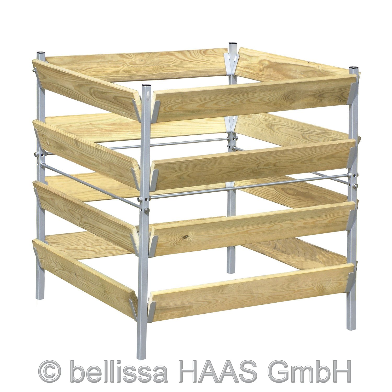 Komposter Holz/Metall 90x90x90 cm
