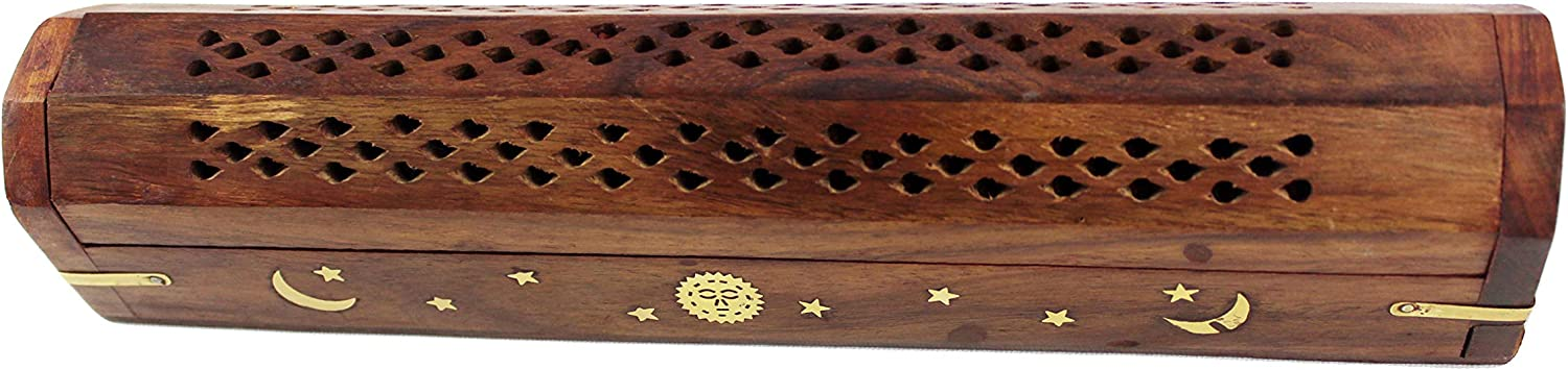 12x2x2 inches 2 Pack Wooden Coffin Incense Burner with Sun and Moon Inlays and Storage Compartment Cotton Craft