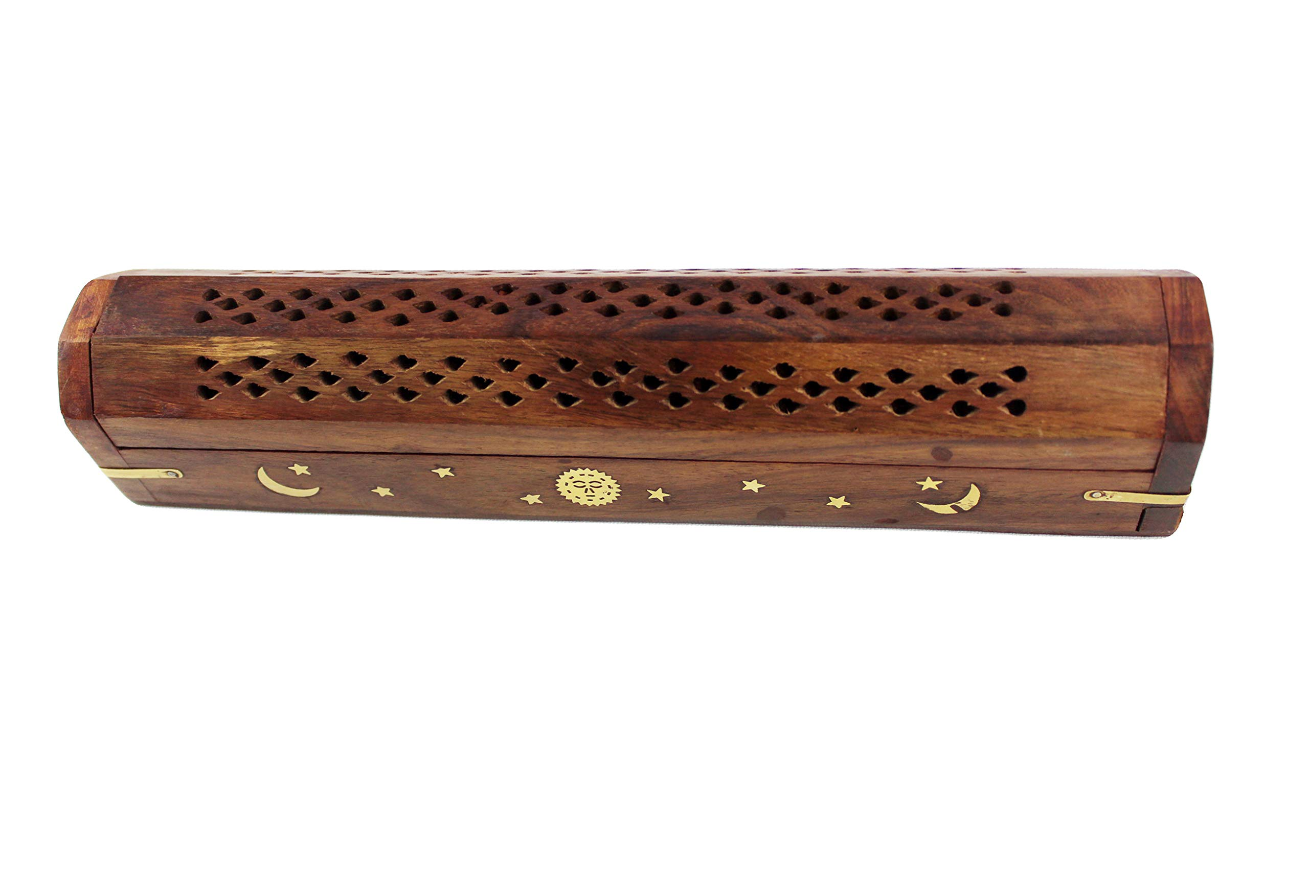 Cotton Craft - 2 Pack - Coffin Style Wood Incense Burner Holder with Sun and Moon Inlays - Handmade from Sheesham Wood and Brass Inlays - Size 12x2x2 by Cotton Craft (Image #4)