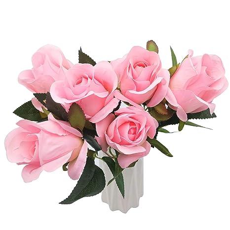 Bulexp 6 Pieza Flores Artificiales Rosas Decoración De Seda
