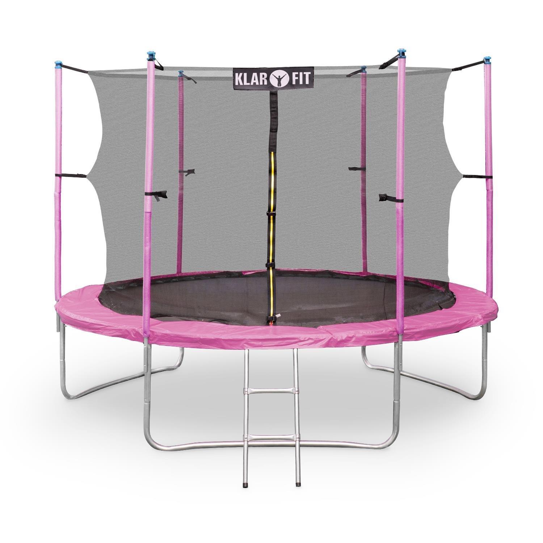 Klarfit Rocket Gartentrampoline Outdoortrampoline (Ø 250 - 430 cm, Sicherheitsnetz, Einstiegsleiter, gepolsterte Stangen, bis max. 150 kg belastbar) blau, pink oder grün