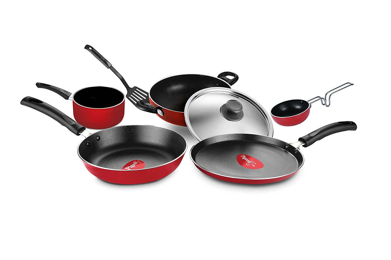 Pigeon Grand Non Stick Cookware Gift Set of 7 Pcs (RED)