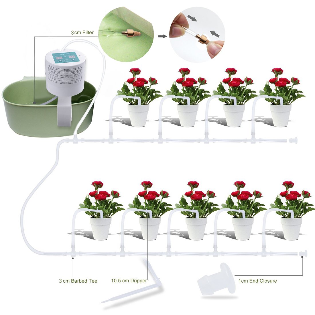 Elitlife Automatic Drip Irrigation Kit, Self Watering System, Vacation Plant Watering, Watering Can, 15-Day Watering Time&Watering Interval Time Setting Indoor Garden/Potted Plants-Simultaneousl