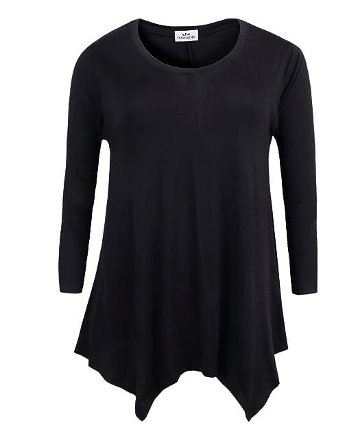 2c14d7cafa0c2d ZERDOCEAN Women's Plus Size Long Sleeve Printed Tunic Flowy Top Loose Fit  Shirt Black 1X