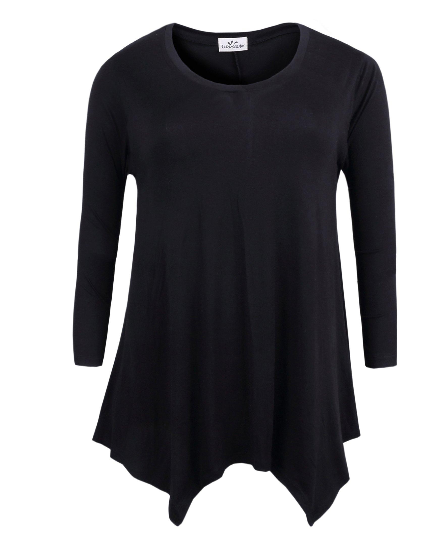 ZERDOCEAN Women's Plus Size Long Sleeve Printed Tunic Flowy Top Loose Fit Shirt Black 2X
