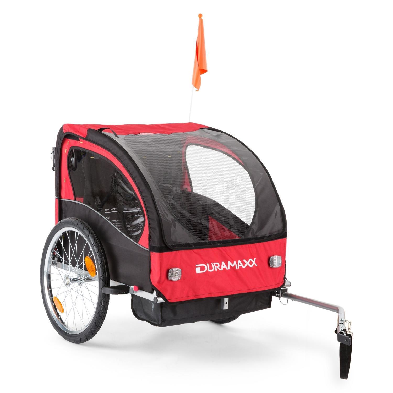 DURAMAXX • Trailer Swift • Fahrradanhänger • Kinderfahradanhänger • Kinderwagen • Babytrailer 2-Sitzer • 5-Punkt Sicherheitsgurte • Umwandlung in Joggermodell • Fliegengitter und Regenschutzverdeck • G