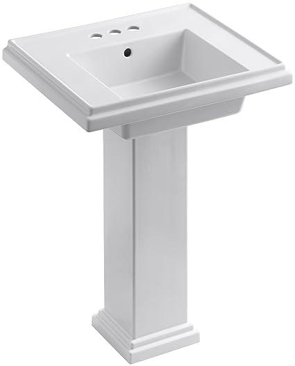 Kohler Tresham Pedestal Sink.Kohler K 2844 4 0 Tresham 24 Inch Pedestal Bathroom Sink With 4 Inch Centerset Faucet Drilling White