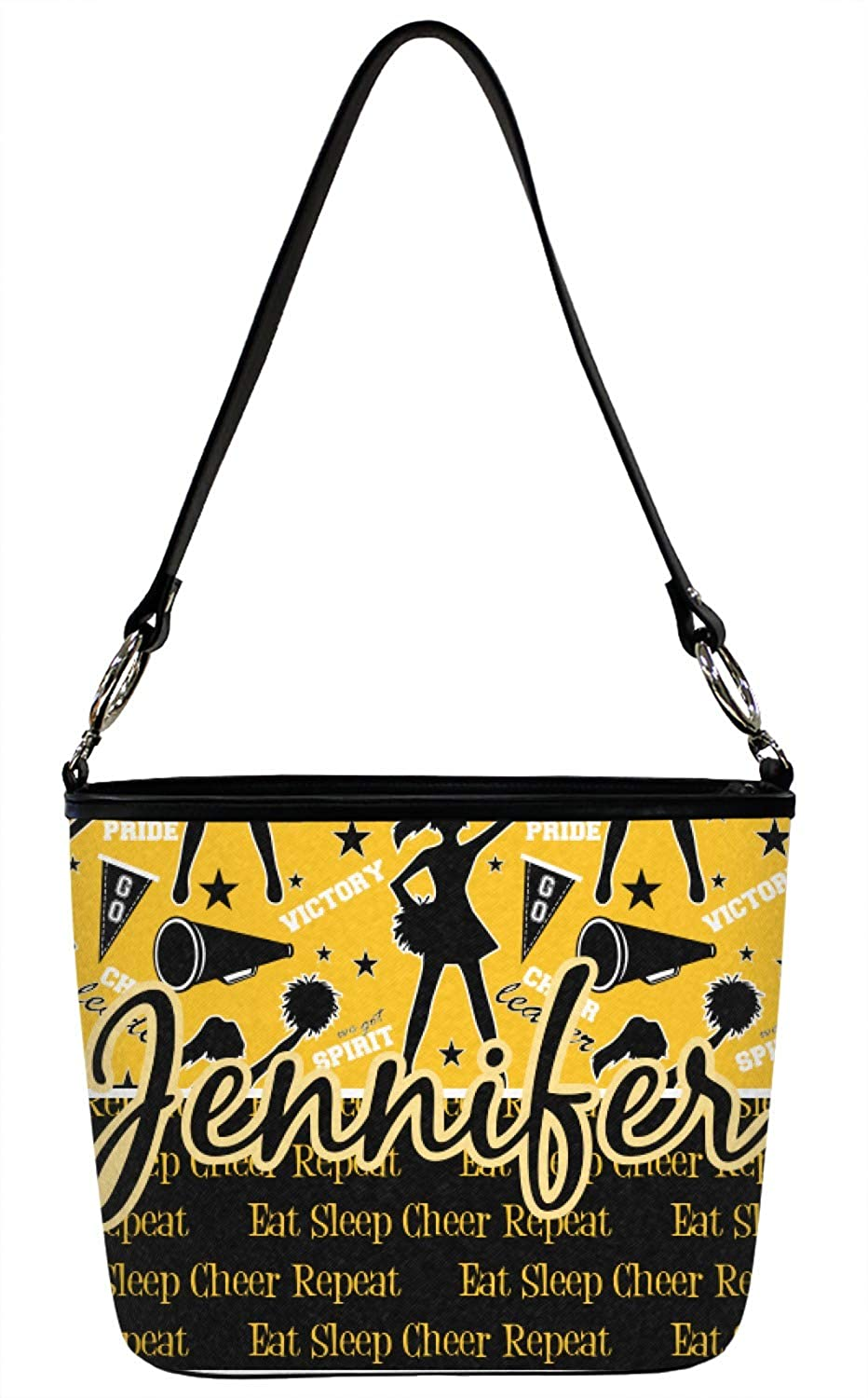 Regular Cheer Bucket Bag w//Genuine Leather Trim Front /& Back Personalized