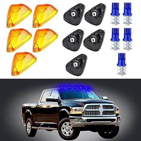 Scitoo 5 x ámbar Cabina Marcador Clearance luz + Azul 194 10-LED Bombillas w