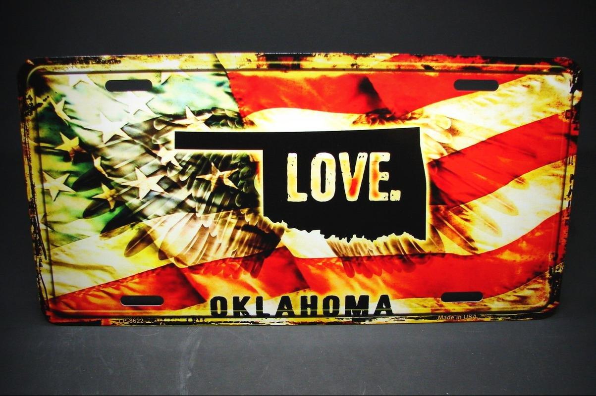 OKLAHOMA STATE LOVE AMERICAN FLAG METAL ALUMINUM CAR LICENSE PLATE TAG